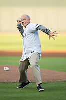 Former Wake Forest Demon Deacons men's head basketball coach Dave Odom throws out a ceremonial first pitch prior to the Carolina League game between the Buies Creek Astros and the Winston-Salem Dash at BB&T Ballpark on April 13, 2017 in Winston-Salem, North Carolina.  The Dash defeated the Astros 7-1.  (Brian Westerholt/Four Seam Images)