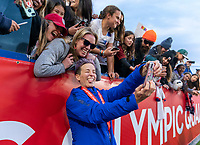 CARSON, CA - FEBRUARY 9: Megan Rapinoe #15 of the United States poses for a selfie during a game between Canada and USWNT at Dignity Health Sports Park on February 9, 2020 in Carson, California.