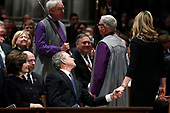 Former President George Bush clasps hands with his daughter Jenna Bush Hager after she spoke during the State Funeral for former President George H.W. Bush at the National Cathedral, Wednesday, Dec. 5, 2018, in Washington. <br /> Credit: Alex Brandon / Pool via CNP