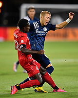 LAKE BUENA VISTA, FL - JULY 26: Anton Tinnerholm of New York City FC fouled by Richie Laryea of Toronto FC as he cuts inside during a game between New York City FC and Toronto FC at ESPN Wide World of Sports on July 26, 2020 in Lake Buena Vista, Florida.