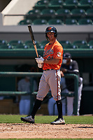 Baltimore Orioles Shayne Fontana (48) bats during a Minor League Spring Training game against the Detroit Tigers on April 14, 2021 at Joker Marchant Stadium in Lakeland, Florida.  (Mike Janes/Four Seam Images)