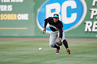 Chattanooga Lookouts right fielder Edgar Corcino (11) fields a base hit during a game against the Jackson Generals on April 29, 2017 at The Ballpark at Jackson in Jackson, Tennessee.  Jackson defeated Chattanooga 7-4.  (Mike Janes/Four Seam Images)