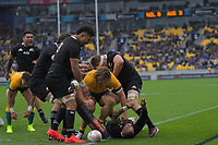Aaron Smith scores during the Bledisloe Cup rugby union match between the New Zealand All Blacks and Australia Wallabies at Sky Stadium in Wellington, New Zealand on Sunday, 11 October 2020. Photo: Dave Lintott / lintottphoto.co.nz