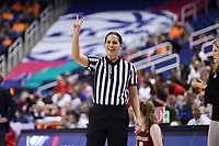 GREENSBORO, NC - MARCH 07: Official Pualani Spurlock during a game between Boston College and NC State at Greensboro Coliseum on March 07, 2020 in Greensboro, North Carolina.