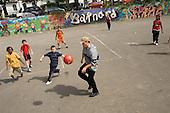 Football game at Barnard Park Adventure Playground, Islington