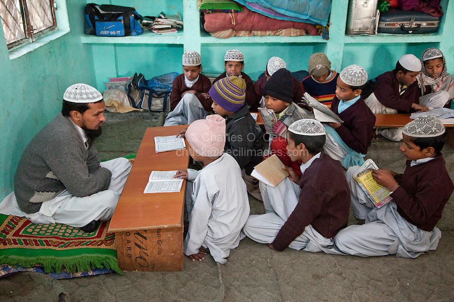 Madrasa Students Reading Koran Passages to Imam, Madrasa Imdadul Uloom, Dehradun, India.