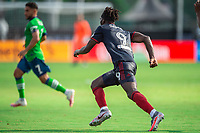 LAKE BUENA VISTA, FL - JULY 14: C.J. Sapong #9 of the Chicago Fire runs after the ball during a game between Seattle Sounders FC and Chicago Fire at Wide World of Sports on July 14, 2020 in Lake Buena Vista, Florida.