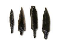 Black obsidian arrow heads. Catalhoyuk Collections. Museum of Anatolian Civilisations, Ankara. Against a white background