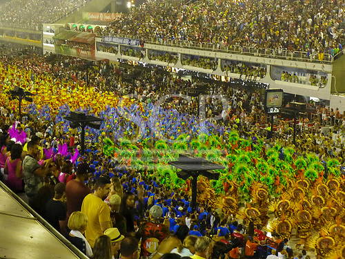 Imperatriz Leopolinense Samba School, Carnival, Rio de Janeiro, Brazil, 26th February 2017. Various 'alas' of the parade, each with its own bright colours, as the pass along the Sambadrome.
