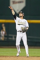 Vanderbilt Commodores shortstop Dansby Swanson (7) in action against the TCU Horned Frogs in Game 12 of the NCAA College World Series on June 19, 2015 at TD Ameritrade Park in Omaha, Nebraska. The Commodores defeated TCU 7-1. (Andrew Woolley/Four Seam Images)