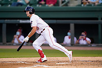Right fielder Tyler Esplin (25) of the Greenville Drive during a game against the Bowling Green Hot Rods on Wednesday, May 5, 2021, at Fluor Field at the West End in Greenville, South Carolina. (Tom Priddy/Four Seam Images)