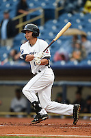 Lake County Captains second baseman Paul Hendrix (8) at bat during a game against the Dayton Dragons on June 8, 2014 at Classic Park in Eastlake, Ohio.  Lake County defeated Dayton 4-2.  (Mike Janes/Four Seam Images)