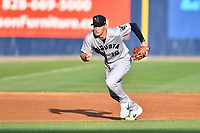 Augusta GreenJackets third baseman Jacob Gonzalez (18) reacts to the ball during a game against the Asheville Tourists at McCormick Field on April 6, 2019 in Asheville, North Carolina. The Tourists defeated the GreenJackets 6-3. (Tony Farlow/Four Seam Images)