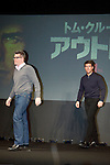 """January 9, 2013, Tokyo, Japan - (L-R) Christopher McQuarrie and Tom Cruise walk on stage during a press conference for """"Jack Reacher"""" in Tokyo on Wednesday, January 9, 2013. McQuarrie and Cruise are in Japan to promote """"Jack Reacher"""" which is entitled """"Outlaw"""" for the Japanese market. The movie will be released on February 1st in Japan. (Photo by Rodrigo Reyes Marin/AFLO)"""
