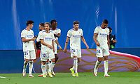 12th September 2021; Estadio Santiago Bernabeu, Madrid, Spain; La Liga, Real Madrid CF versus RC Celta de Vigo; Real Madrid players celebrates Kamavinga fist goal as a Real Madrid player