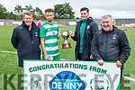 Killarney Celtic captains Gary Keane and John McDonagh accepts the Denny League Cup from Sean O'Keeffe (Chairman of the KDL) and Gerald Guerin after defeating  Killarney Athletic in the Denny Premier A League Final.