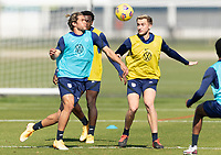 BRADENTON, FL - JANUARY 19: Cade Cowell, Djordje Mihailovic battle for a ball during a training session at IMG Academy on January 19, 2021 in Bradenton, Florida.