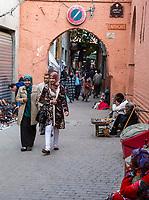 Marrakesh, Morocco.  Street Scene, Women Walking.