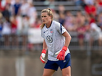 EAST HARTFORD, CT - JULY 5: Alyssa Naeher #1 of the USWNT warms up during a game between Mexico and USWNT at Rentschler Field on July 5, 2021 in East Hartford, Connecticut.