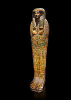 Ancient Egyptian sarcophagus, Thebes, Late 21st Dynasty, Egyptian Museum, Turin.  black background
