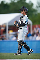 West Virginia Black Bears catcher Yoel Gonzalez (52) during a game against the Batavia Muckdogs on June 24, 2017 at Dwyer Stadium in Batavia, New York.  The game was suspended in the bottom of the third inning and completed on June 25th with West Virginia defeating Batavia 6-4.  (Mike Janes/Four Seam Images)