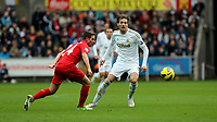 Sunday, 25 November 2012<br /> Pictured: Joe Allen (L) and Michu (R).<br /> Re: Barclays Premier League, Swansea City FC v Liverpool at the Liberty Stadium, south Wales.