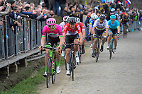 Sep Vanmarcke (BEL/Education First-Drapac) leading the race favorites up the Oude Kwaremont<br /> <br /> 102nd Ronde van Vlaanderen 2018 (1.UWT)<br /> Antwerpen - Oudenaarde (BEL): 265km