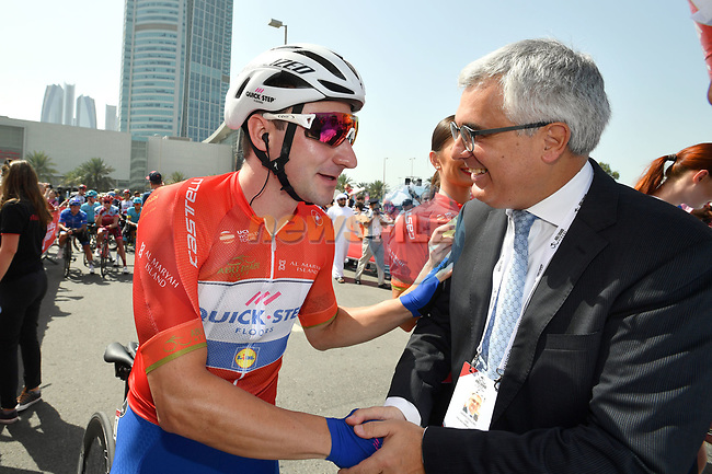 Race leader Red Jersey holder Elia Viviani (ITA) Quick-Step Floors greets Liborio Stellino the Italian Ambassador to UAE at sign on before the start of Stage 3 of the 2018 Abu Dhabi Tour, Nation Towers Stage running 133km from Nation Towers to Big Flag, Abu Dhabi, United Arab Emirates. 23rd February 2018.<br /> Picture: LaPresse/Massimo Paolone | Cyclefile<br /> <br /> <br /> All photos usage must carry mandatory copyright credit (© Cyclefile | LaPresse/Massimo Paolone)