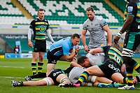 13th March 2021; Franklin's Gardens, Northampton, East Midlands, England; Premiership Rugby Union, Northampton Saints versus Sale Sharks; Referee Matthew Carley looks to see if Sale Sharks have grounded the ball for a try