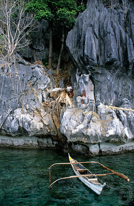 The Tagbanwa guarding the nesting site of the swiftlets by camping with the whole family near by the collecting site.<br /> The Tagbanwa or Tagbanua, one of the oldest ethnic groups in the Philippines, can found in central and northern Palawan. Research has shown that the Tagbanwa are possible descendants of the Tabon Man; thus, making them one of the original inhabitants of the Philippines. They are brown-skinned, slim and straight-haired ethnic group and exceptional climbers.