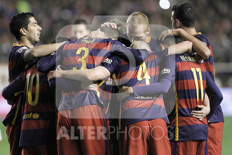 FC Barcelona's players celebrate goal during La Liga match. March 3,2016. (ALTERPHOTOS/Acero)