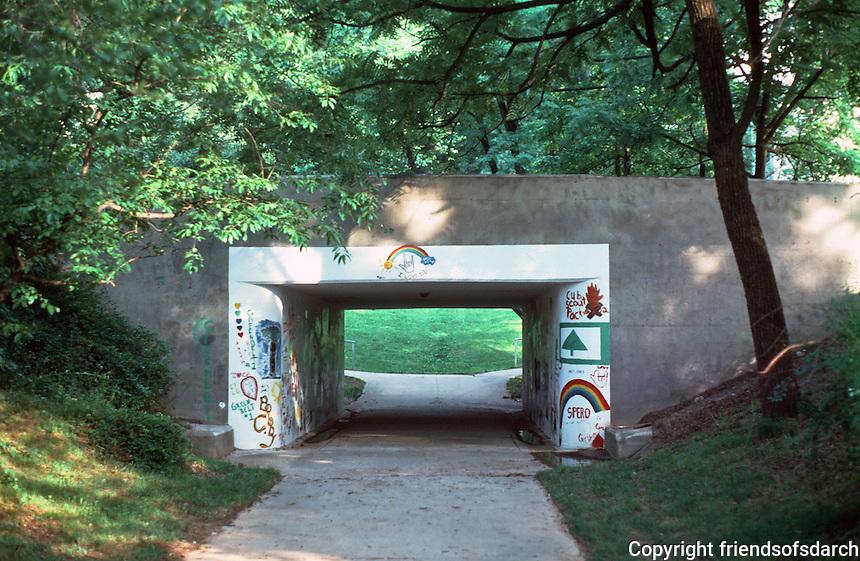 Greenbelt:  Pedestrian underpass--center of town.  Photo '85.