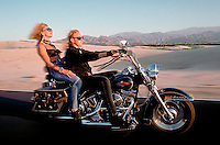 Man and woman riding through the California desert on a Harley  Davidson