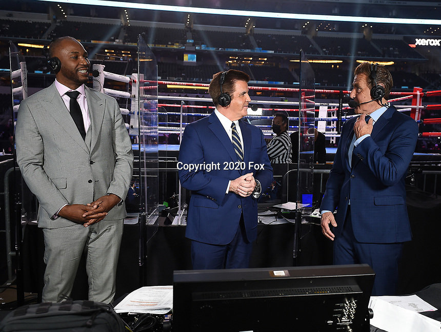 ARLINGTON, TX - DECEMBER 5: (L-R) Lennox Lewis, Brian Kenny, and Joe Goossen before the Errol Spence Jr. v Danny Garcia fight on Fox Sports PBC Pay-Per-View fight night at AT&T Stadium in Arlington, Texas on December 5, 2020. (Photo by Frank Micelotta/Fox Sports)