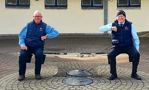 Keeping sailing going…..HYC Commodore Ian Byrne and his successor Paddy Judge demonstrating the Two Metre Social Distance Rule. Photo: HYC