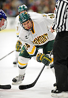 6 November 2009: University of Vermont Catamount forward Tobias Nilsson-Roos, a Freshman from Malmo, Sweden, in second period action against the University of Massachusetts Lowell River Hawks at Gutterson Fieldhouse in Burlington, Vermont. The Hockey East rivals battled to a 3-3 tie. Mandatory Credit: Ed Wolfstein Photo
