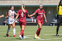 STANFORD, CA - SEPTEMBER 12: Belle Briede and Maya Doms during a game between Loyola Marymount University and Stanford University at Cagan Stadium on September 12, 2021 in Stanford, California.