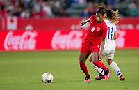 CARSON, CA - FEBRUARY 07: Kadeisha Buchanan #3 of Canada dribbles the ball during a game between Canada and Costa Rica at Dignity Health Sports Complex on February 07, 2020 in Carson, California.