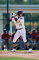 GCL Pirates Jase Bowen (26) at bat during a Gulf Coast League game against the GCL Twins on August 6, 2019 at Pirate City in Bradenton, Florida.  GCL Twins defeated the GCL Pirates 4-2 in the first game of a doubleheader.  (Mike Janes/Four Seam Images)