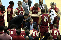 CHAPEL HILL, NC - FEBRUARY 1: Head coach Jim Christian of Boston College talks to his team during a timeout during a game between Boston College and North Carolina at Dean E. Smith Center on February 1, 2020 in Chapel Hill, North Carolina.