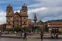 Peru, Cusco.  Church of La Compania, 17th. Century Jesuit Church, Facing the Plaza de Armas.  Fountain with Inca King Pachacutec.