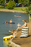 People enjoying recreational activities on the Deschutes River, Downtown Bend, Oregon