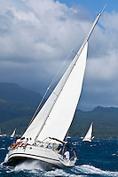 Yachts racing in strong winds during the final leg of the Tahiti Pearl Regatta, from Tahaa Island in the lagoon to Raiatea