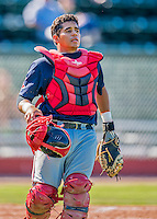 5 September 2016: Lowell Spinners catcher Isaias Lucena in action against the Vermont Lake Monsters at Centennial Field in Burlington, Vermont. The Monsters defeated the Spinners 9-5 to close out their 2016 NY Penn League season. Mandatory Credit: Ed Wolfstein Photo *** RAW (NEF) Image File Available ***