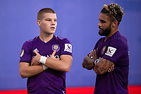 LAKE BUENA VISTA, FL - JULY 14: Chris Mueller #9 of Orlando City SC and Dom Dwyer #14 of Orlando City SC celebrate a goal during a game between Orlando City SC and New York City FC at Wide World of Sports on July 14, 2020 in Lake Buena Vista, Florida.