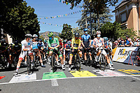 4th September 2020; Millau to Lavaur, France. Tour de France cycling tour, stage 7; Deceuninck - Quick Step 2020, Bora - Hansgrohe 2020, Uae - Emirates 2020, Ag2r La Mondiale Alaphilippe, Julian Sagan, Peter Pogacar, Tadej Cosnefroy, Benoit Millau