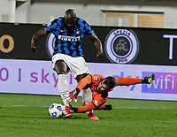 Ivan Provedel Romelu Lukaku of Inter  during the  italian serie a soccer match,Spezia Inter Milan at  the STadio Picco in La Spezia Italy ,