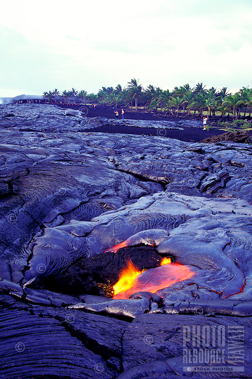 Flowing lava at Volcanoes National Park on the Big Island of Hawaii.