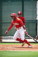GCL Phillies left fielder Malvin Matos (39) at bat during a game against the GCL Braves on August 3, 2016 at the Carpenter Complex in Clearwater, Florida.  GCL Phillies defeated GCL Braves 4-3 in a rain shortened six inning game.  (Mike Janes/Four Seam Images)