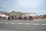 The breakaway along the coast during Stage 10 of La Vuelta d'Espana 2021, running 189km from Roquetas de Mar to Rincón de la Victoria, Spain. 24th August 2021.     <br /> Picture: Cxcling   Cyclefile<br /> <br /> All photos usage must carry mandatory copyright credit (© Cyclefile   Cxcling)